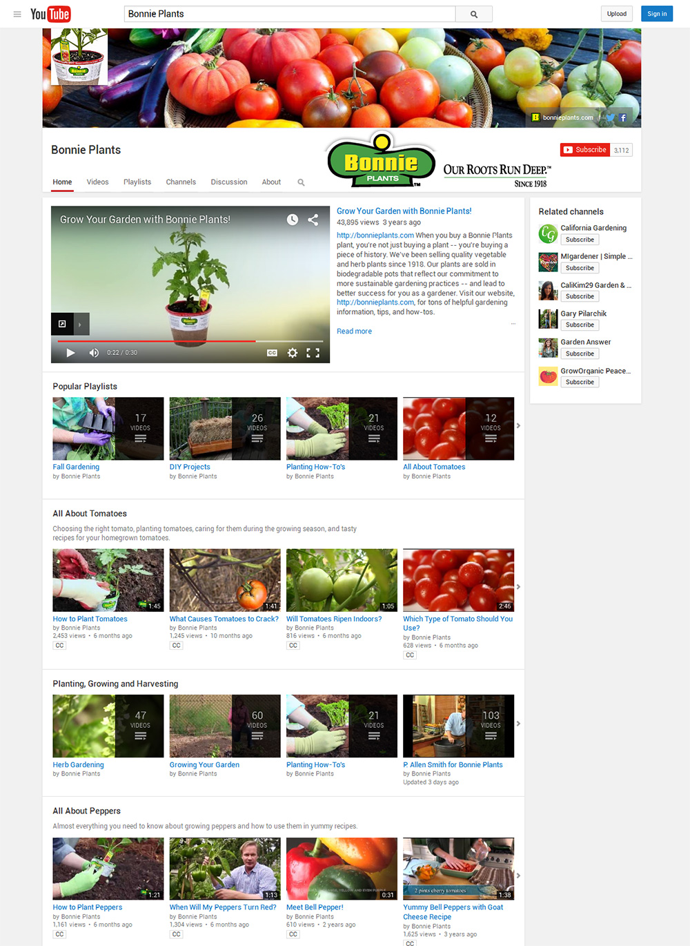 Bonnie Plants YouTube channel